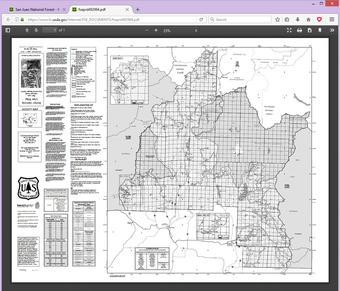 San Juan National Forest Columbine District Map